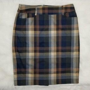 Roz & Ali Plaid Pencil Skirt
